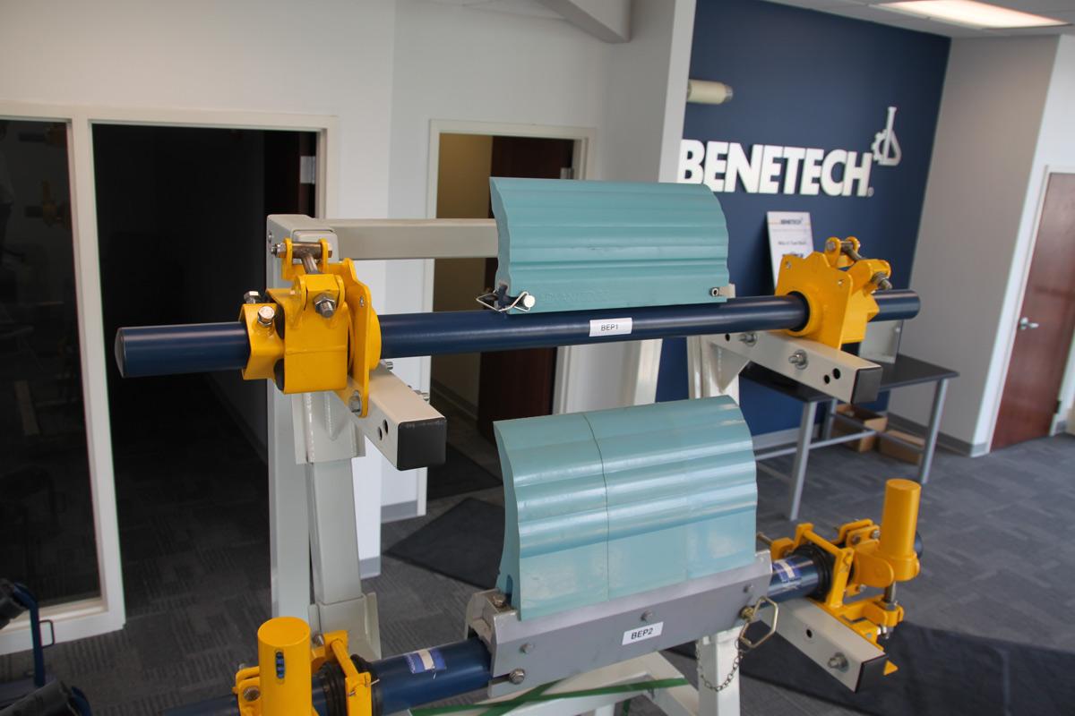 A display featuring belt scraper blades