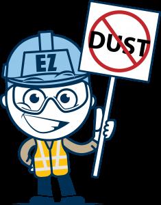 Benetech's mascot protesting against dust